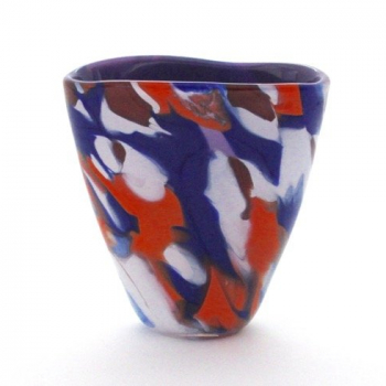 Blue Orange and White Vase
