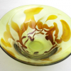 Lime and Topaz Feathers Bowl, unique handblown glass bowl by Adam Aaronson