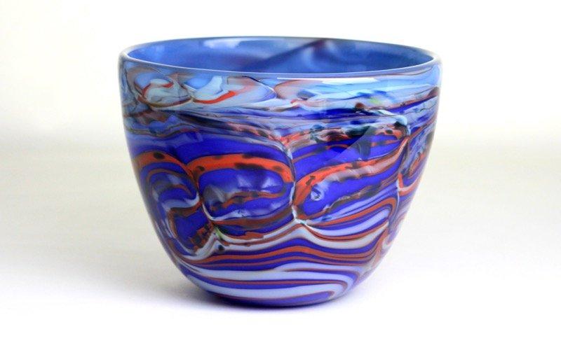 Blue Marbled Morris Bowl by Adam Aaronson