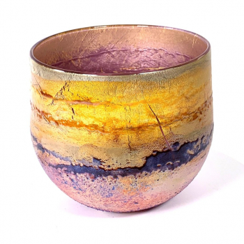 Purple Sunrise A freeblown Glass Landscape Bowl by Adam Aaronson