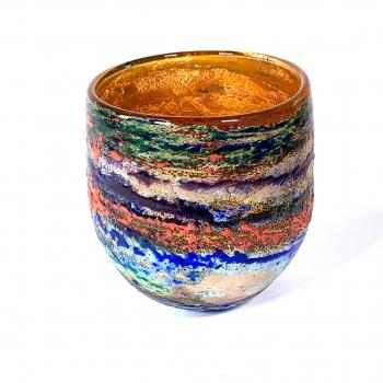Poppy Fields II Handblown Glass Bowl By Adam Aaronson