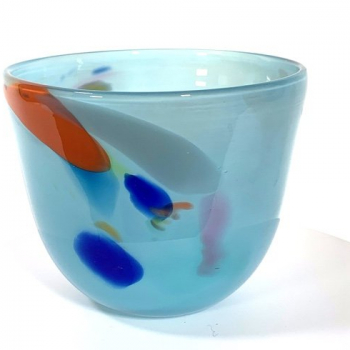 Azure Beachcomber Medium Bowl Handmade Glass Bowl by Adam
