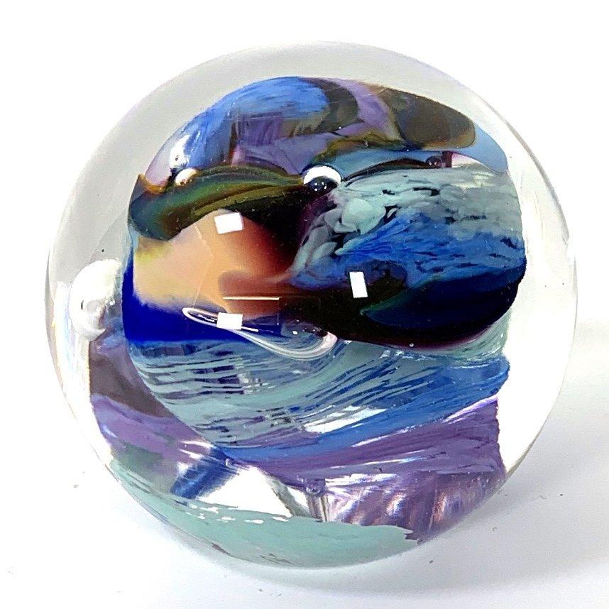 Blue Whirlpool Paperweight Handmade Glass by Adam Aaronson