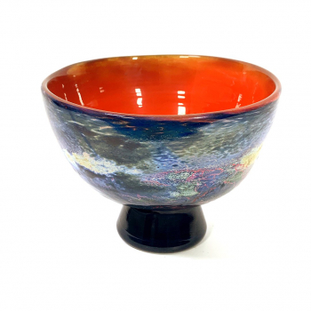 Blue lustre footed bowl, Handblown glass by Adam Aaronson