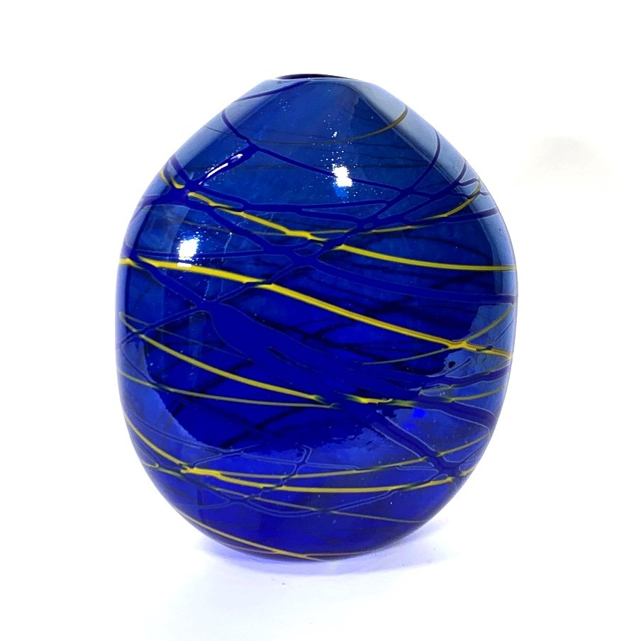 Blue and Yellow Lustre Flat Vase, Hand Blown Glass by Adam Aaronson