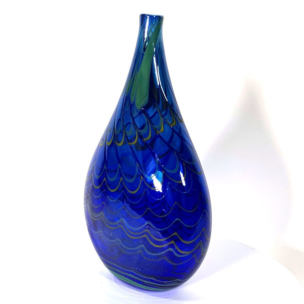 Blue and yellow Lustre flat long necked bottle is a handblown glass vase by Adam Aaronson