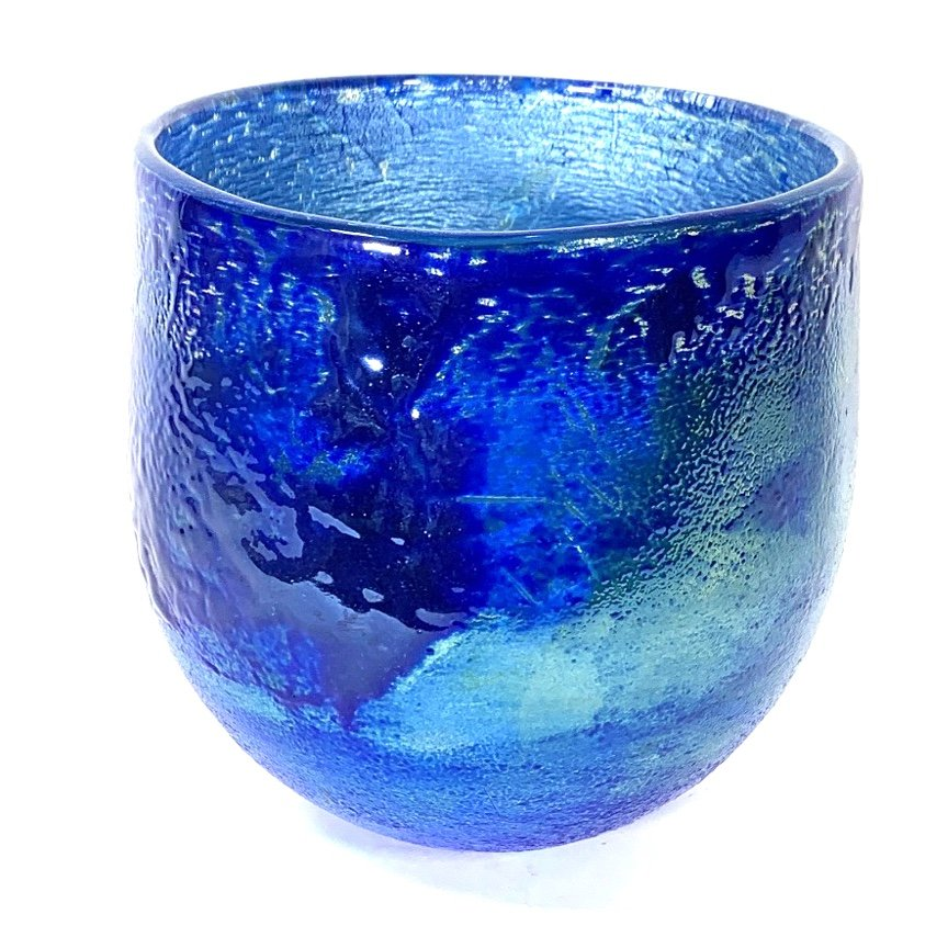 Blue Lustre Bowl, Handblown Glass By Adam Aaronson