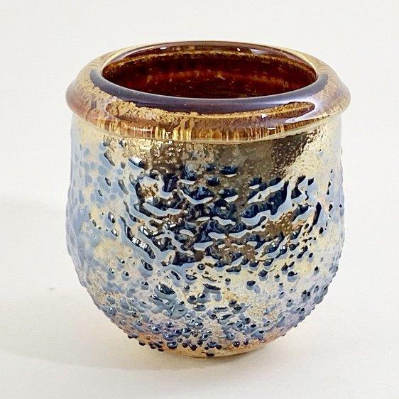 Small Topaz Crackle Pot Handblown Glass by Adam Aaronson