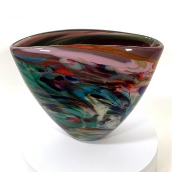 Secret Garden Pond Fan Vase Handblown glass by Adam Aaronson