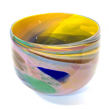 Yellow Beachcomber Bowl Handblown glass by Adam Aaronson
